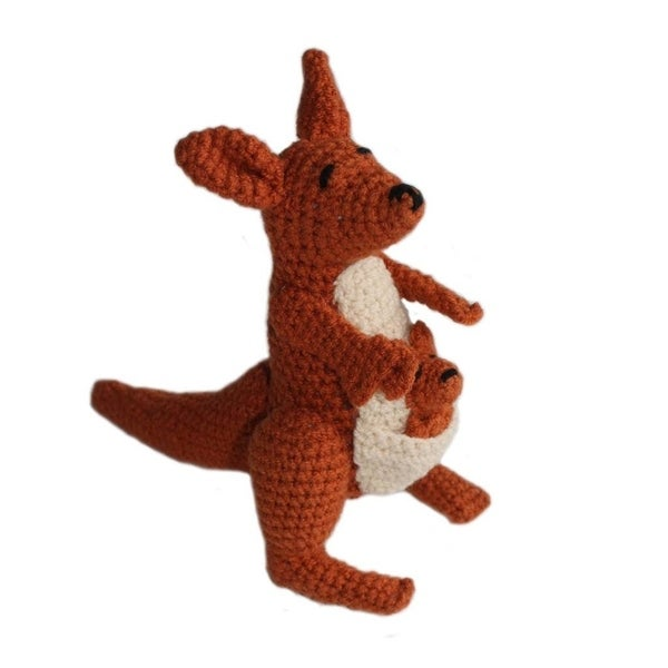 Handmade Knit Rattle Fabricated Kangaroo (Kyrgyzstan)