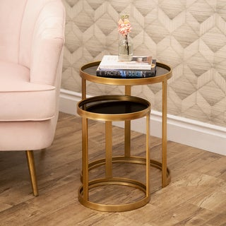 Abbyson Ledford Gold Round Nesting End Tables (Set of 2)