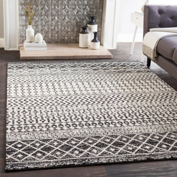 E Black White Bohemian Area Rug