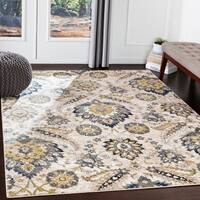 Juno Navy Damask Area Rug - 7'10 x 10'3