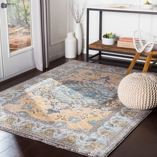 """Brielle Yellow/ Blue Traditional Area Rug - 7'10"""" x 10'3"""""""