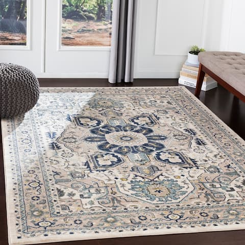 "Quincey Navy & Grey Traditional Area Rug - 7'10"" x 10'3"""