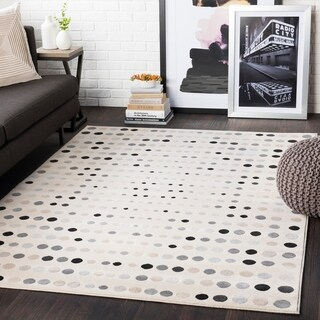 "Samantha Beige/ Black Contemporary Dots Area Rug - 7'10"" x 10'3"""