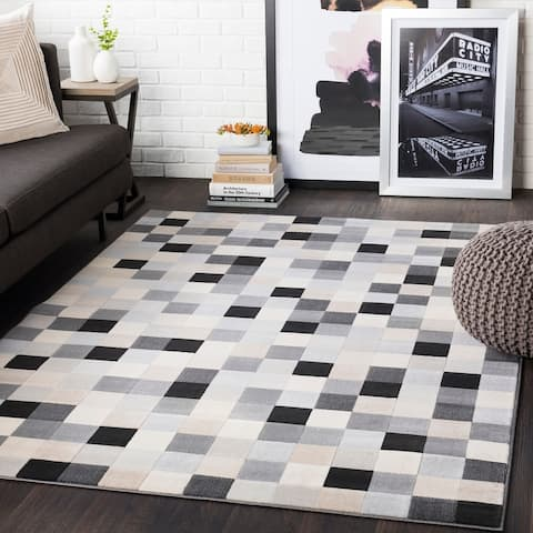 "Sierra Grey Contemporary Pixelated Area Rug - 8'8"" x 12'3"""