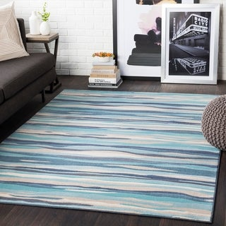 "Colton Aqua Wavy Stripes Area Rug - 9'3"" x 12'3"""