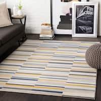 "Elsie Yellow & Grey Contemporary Area Rug - 7'10"" x 10'3"""