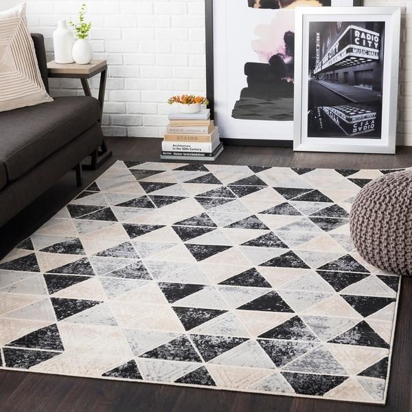 """Brynn Black & Grey Distressed Contemporary Area Rug - 7'10"""" x 10'3"""""""
