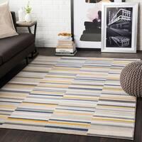 "Elsie Yellow & Grey Contemporary Area Rug - 9'2"" x 12'3"""