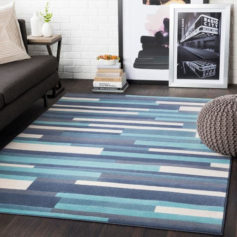 "Corbin Blue Striped Contemporary Area Rug - 8'8"" x 12'3"""