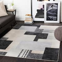 Steven Black & Grey Contemporary Area Rug - 7'10 x 10'3