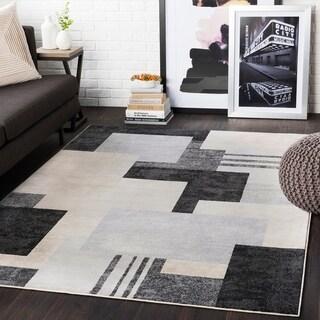 "Steven Black & Grey Contemporary Area Rug - 7'10"" x 10'3"""