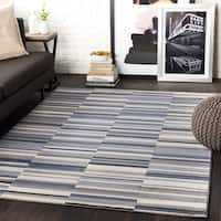 "Elsie Charcoal & Blue Contemporary Area Rug - 7'10"" x 10'3"""