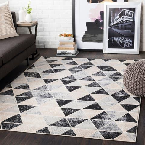 """Brynn Black & Grey Distressed Contemporary Area Rug - 8'8"""" x 12'3"""""""