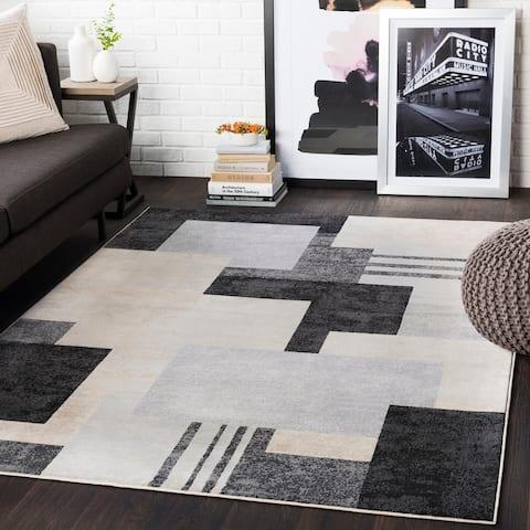 "Steven Black & Grey Contemporary Area Rug - 8'8"" x 12'3"""