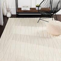 Kayson Cream Hand Loomed Stripe Wool Area Rug - 8' X 11'
