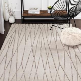 Kayson Taupe Hand Loomed Stripe Wool Area Rug - 8' x 11'