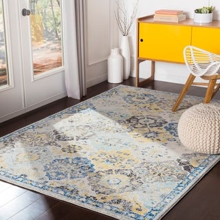 "Irises Blue & Yellow Vintage Traditional Area Rug - 7'10"" x 10'3"""