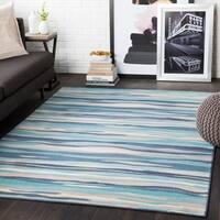 "Colton Aqua Wavy Stripes Area Rug - 3'11"" x 5'7"""