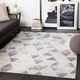 """Brynn Taupe Distressed Contemporary Area Rug - 7'10"""" x 10'3"""""""