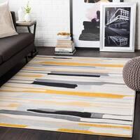 "Joaquin Mustard/ Black Contemporary Area Rug - 3'11"" x 5'7"""