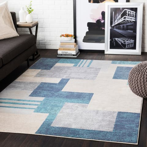 "Steven Aqua & Grey Contemporary Area Rug - 8'8"" x 12'3"""