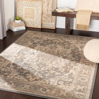 "Dylan Camel/ Light Grey Traditional Area Rug - 7'10"" x 10'3"""