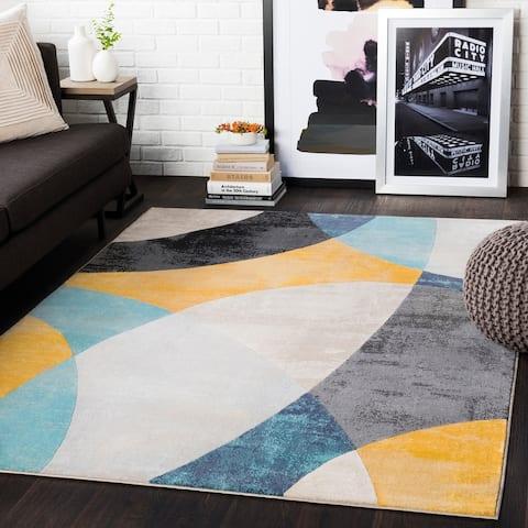 "Trenton Mustard/ Aqua Contemporary Area Rug - 8'8"" x 12'3"""