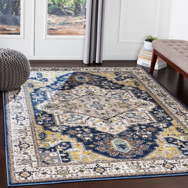 Shop Atticus Navy Amp Gold Traditional Area Rug 5 3 Quot X 7 3