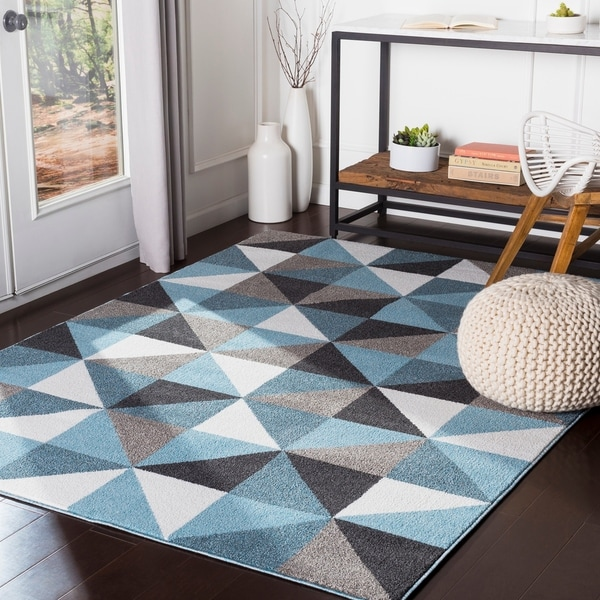Shop Karter Aqua Geometric Area Rug 2 X 3 On Sale