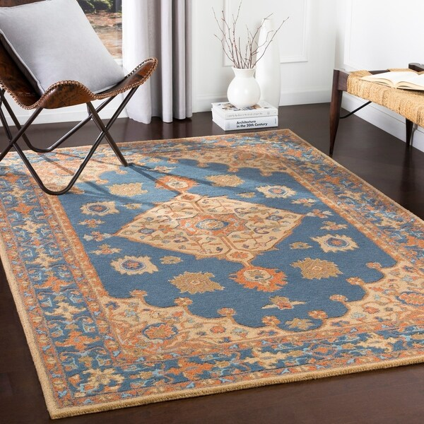 Shop Classical Kashan Medallion Hand Knotted Persian Wool: Shop Ahmere Hand Tufted Navy Medallion Wool Area Rug