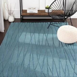 Kayson Blue Hand Loomed Stripe Wool Area Rug - 8' x 11'