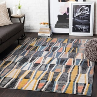 Delray Yellow & Grey Heathered Geometric Area Rug - 2' x 3'