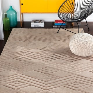 Madelyn Taupe Hand Loomed Geometric Wool Area Rug - 2' x 3'