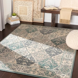 Cooper Teal & Light Grey Traditional Medallion Area Rug - 2' x 3'