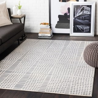 """Bradley Taupe Abstract Grid Area Rug - 2'7"""" x 7'3"""" Runner"""