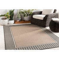 "Grayson Camel Bordered Indoor/ Outdoor Area Rug - 2'3"" x 7'9"""
