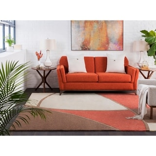 Hand-Tufted Rust Abstract Geometric Contemporary Area Rug - 6' x 9'