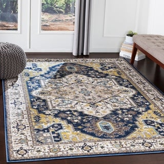 "Atticus Navy & Gold Traditional Area Rug - 5'3"" x 7'3"""