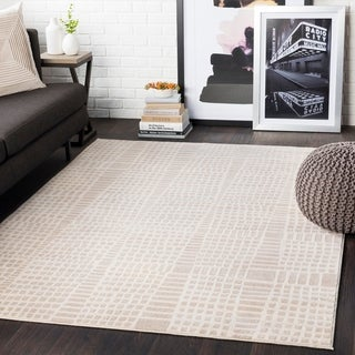 "Bradley Beige Abstract Grid Area Rug - 5'3"" x 7'3"""
