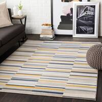 "Elsie Yellow & Grey Contemporary Area Rug - 5'3"" x 7'3"""