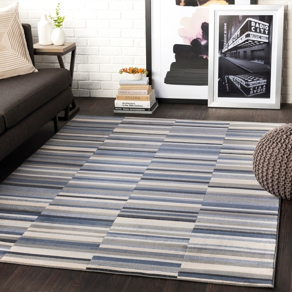 "Elsie Charcoal & Blue Contemporary Area Rug - 5'3"" x 7'3"""