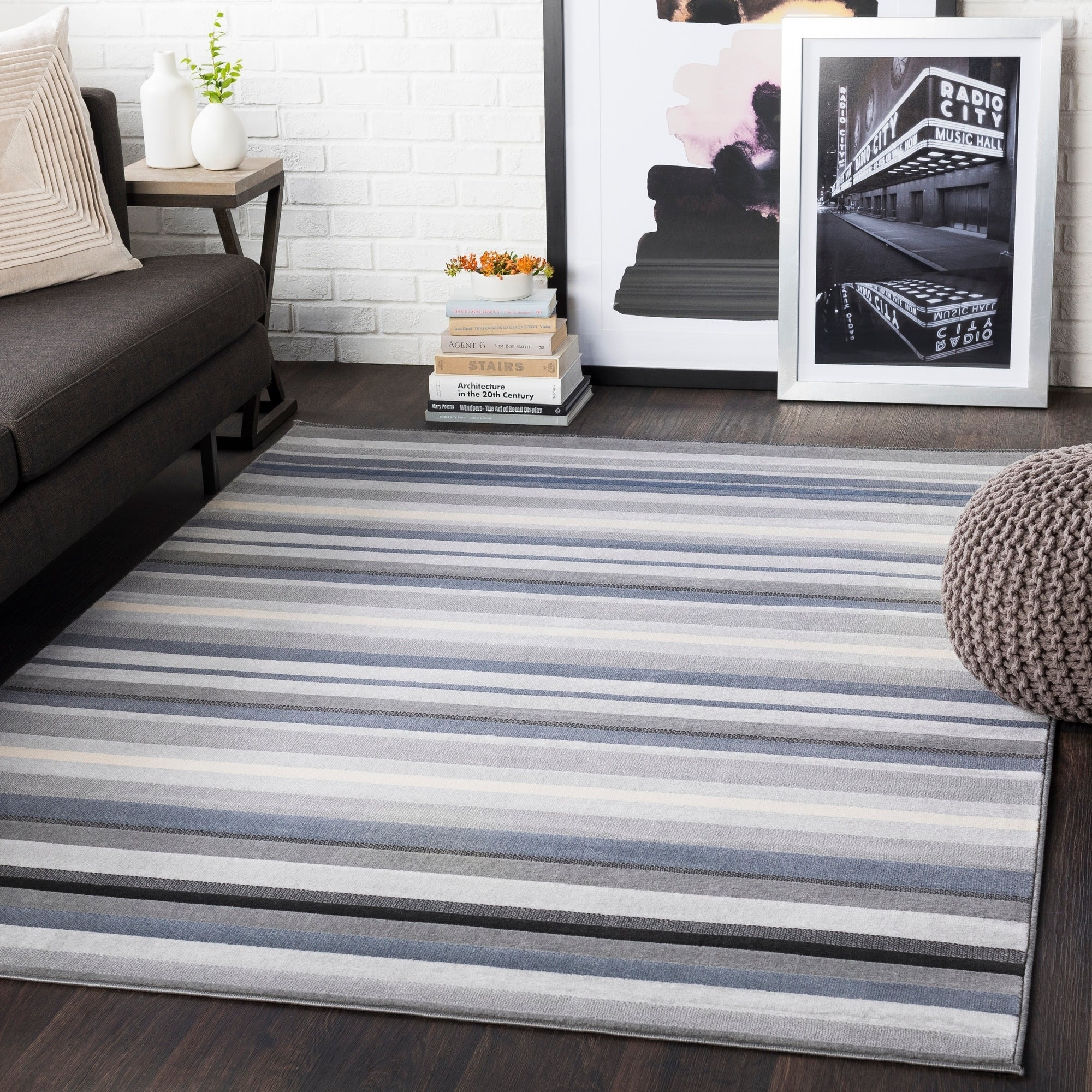 Sloane Gray Striped Area Rug 5 3