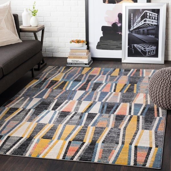 "Delray Yellow & Grey Heathered Geometric Area Rug - 5'3"" x 7'3"""
