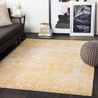 "Hendrix Yellow Distressed Geometric Area Rug - 5'3"" x 7'3"""