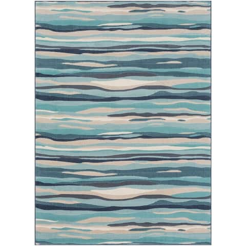 Colton Aqua Wavy Stripes Area Rug