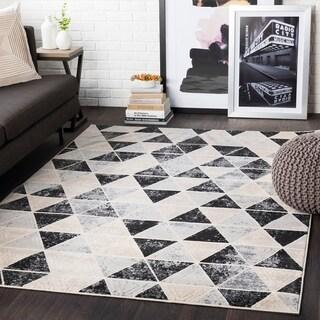 """Brynn Black & Grey Distressed Contemporary Area Rug - 5'3"""" x 7'3"""""""
