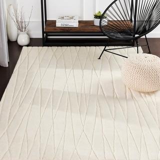 Kayson Cream Hand Loomed Stripe Wool Area Rug - 5' x 8'