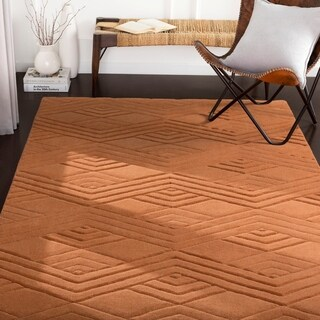 Madelyn Orange Hand Loomed Geometric Wool Area Rug - 5' x 8'