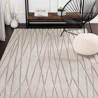 Kayson Taupe Hand Loomed Stripe Wool Area Rug - 5' x 8'