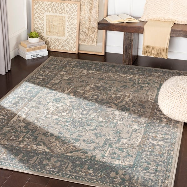 """Dylan Charcoal/ Beige Traditional Area Rug - 5'3"""" x 7'3"""""""